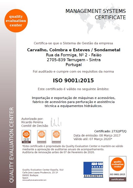 Certificate ISO 9001/2015